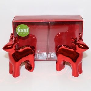 FOOD NETWORK XMAS REINDEER SALT & PEPPER SHAKERS